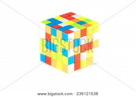 The Rubik`s Cube Five On Five On The White Background. The Solution Sequence Stage. The Object Is Is