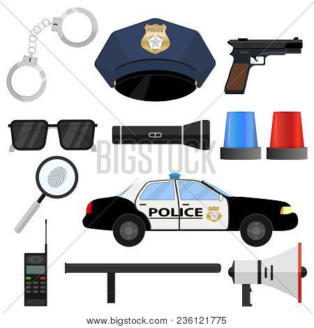 The Police Set. Handcuffs, Cap, Police Token, Police Car, Baton, Loudspeaker, Walkie-talkie. Flat De