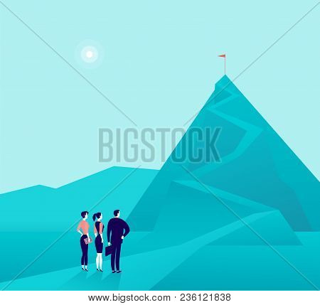 Vector Business Concept Illustration With Businessmen, Woman Standing At Mountain Pic And Watching O