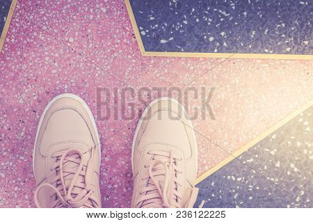 Star And Pink Sneakers On Hollywood Boulevard In Los Angeles