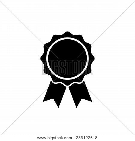 Award Icon In Flat Style. Rosette Symbol Isolated On White Background Simple First Place Award Sign.