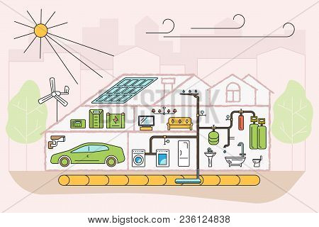 Modern Eco Technologies In The City. Eco Friendly Home Infographic. Icons In Flat Design. Vector Ill