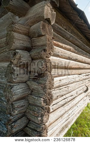 Wood Logs Wall Of Old Rural House