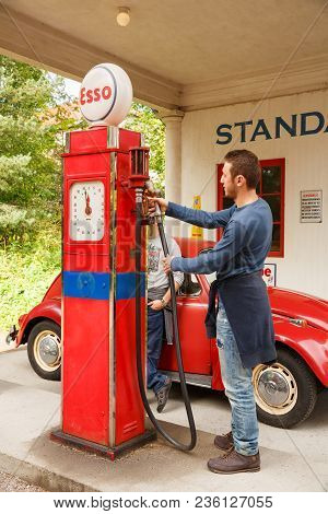 Oslo, Norway-august 13, 2014 - Norwegian Museum Of Cultural History. Standard Oil Gas Station Of 192