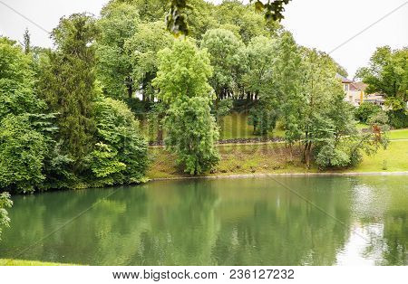 Pond And Trees In Vigeland Park In Oslo.