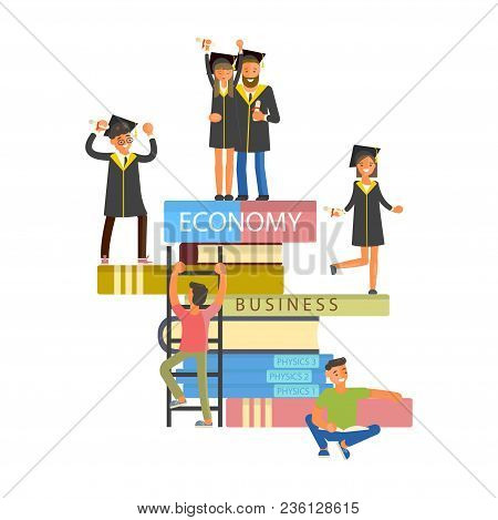 Happy Graduate Characters University Or School Celebrating, Boys And Girls In Graduation Gown And Ca