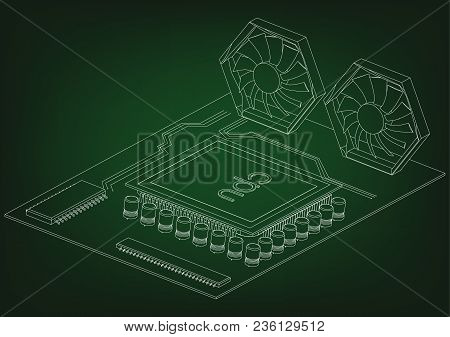 White Motherboard On Green Background, Vector Image