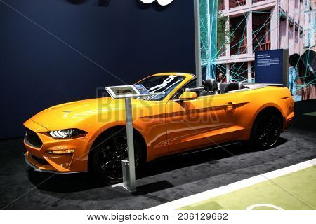NEW YORK CITY-MARCH 28:2018 Ford Mustang Ecoboost premium convertible  shown at the New York International Auto Show 2018, at the Jacob Javits Center.