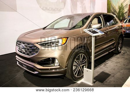 NEW YORK CITY-MARCH 28: Ford Edge Titanium Elite shown at the New York International Auto Show 2018, at the Jacob Javits Center. This was Press Preview Day One of NYIAS, on March 28, 2018.