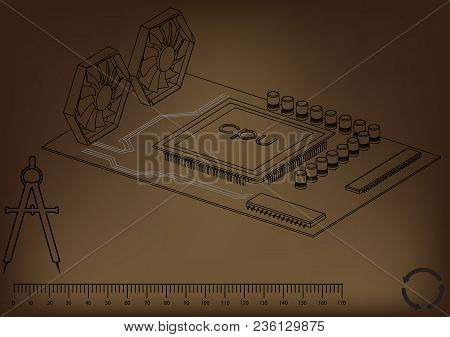 Black Motherboard On Brown Background, Vector Image