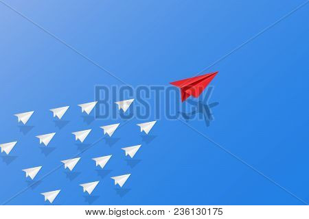 Leadership, Teamwork And Courage Concept, Red Paper Plane With Aircraft Shadow For Leader And White