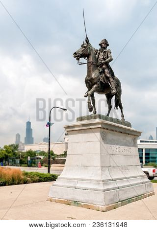 Chicago, Illinois, Usa - August 25, 2014: The Tadeusz Kosciuszko Monument Installed Near Chicagos Sh