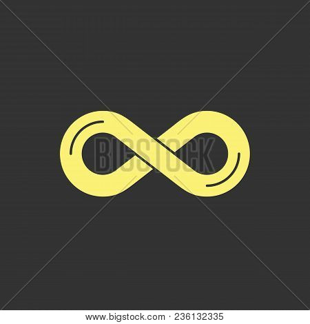 Infinity Symbol Icon. Simple Yellow Vector Design Element On Dark Gray Background. Representing The