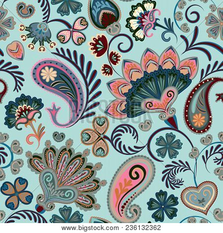 Colorful Seamless Pattern With Fantasy Flowers And Decorative Elements. Paisley. Indian Style. Paste