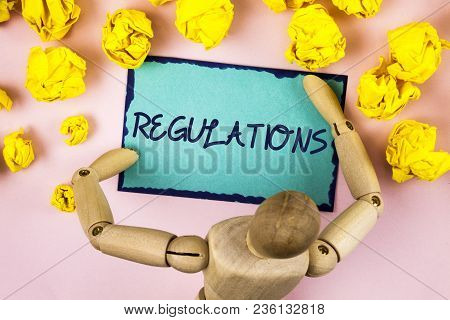 Handwriting Text Writing Regulations. Concept Meaning Rules Laws Corporate Standards Policies Securi