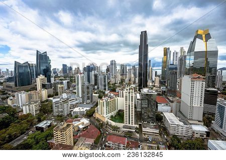 Aerial View Of The Modern Skyline Of Panama City , Panama
