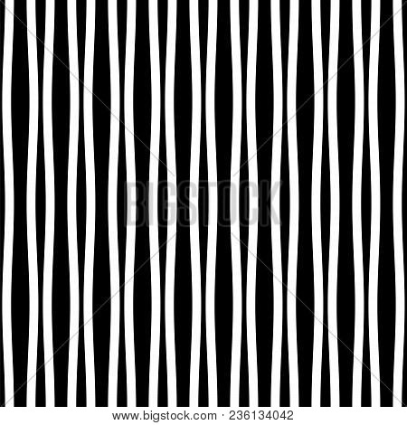 Vector Seamless Pattern. Repeating Vector Texture. Modern Striped Texture. Monochrome Abstract Backg