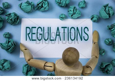 Conceptual Hand Writing Showing Regulations. Business Photo Text Rules Laws Corporate Standards Poli