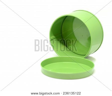 Green Aluminium Open Empty Can Isolated On White Background
