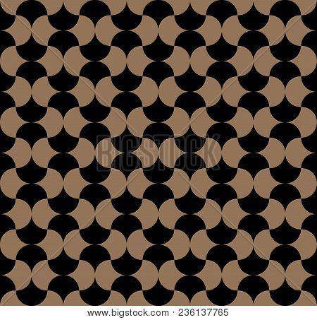 Modern Gold Repeating Seamless Pattern Of Repeat Round Shapes. Stylish Texture. Geometric Background