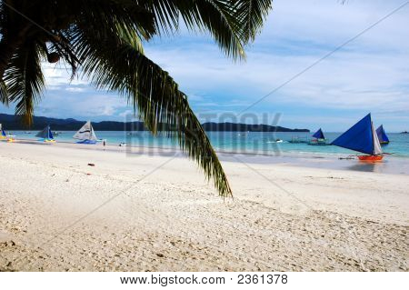 A Beach Scene In Boracay Philippines
