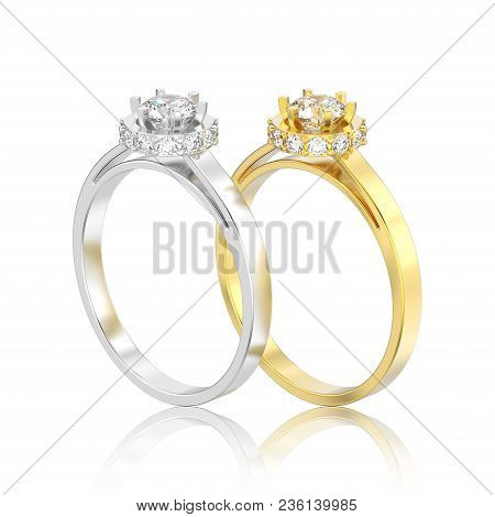 3D illustration isolated two yellow gold and silver halo bezel pave diamond ring with reflection on a white background poster