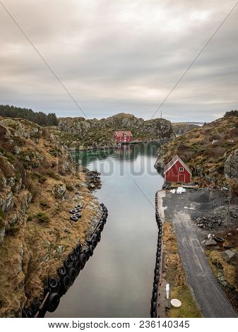 The Rovaer Archipelago In Haugesund, In The Norwegian West Coast. The Small Canal Between The Two Is