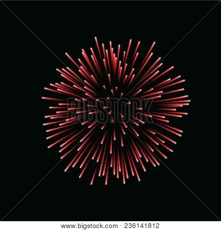 Beautiful Red Firework. Bright Firework Isolated Black Background. Light Red Decoration Firework For