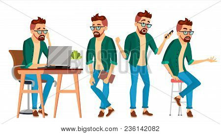 Business Man Character Vector. Hipster Working Male. Environment Process. Start Up. Casual Clothes.