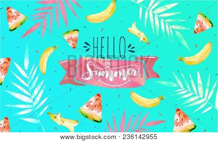 Hello Summer Poster, Banner In Trendy 80s-90s Memphis Style. Vector Illustration, Lettering And Colo
