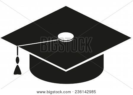 Black And White Graduation Hat Brush Silhouette. Education Themed Vector Illustration For Gift Card