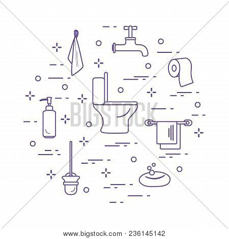 Toilet Bowl, Toilet Paper, Soap Dispenser, Brush For Toilet Bowl, Soap, Towels, Faucet, Towel Hooks.