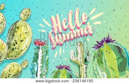 Hello Summer Time Poster, Banner In Trendy 80s-90s Memphis Style. Vector Watercolor Cactus Illustrat