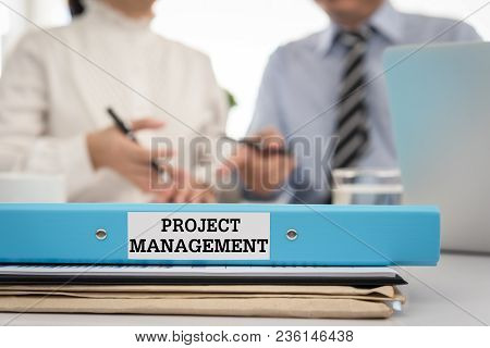 Project Management Document File Put On The Table In The Conference Room. Concept Of Project , Proje