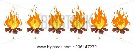Vector Cartoon Style Set Of Game Camp Fire Sprites For Animation. Game User Interface (gui) Element