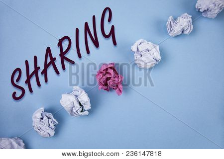 Handwriting Text Writing Sharing. Concept Meaning To Share Give A Portion Of Something To Another Po