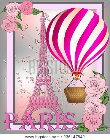 Vintage France Poster Design Romantic Background With Eiffel Tower And Roses Inscription Paris