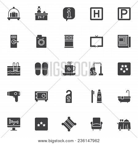 Hotel Elements Vector Icons Set, Modern Solid Symbol Collection, Filled Style Pictogram Pack. Signs,