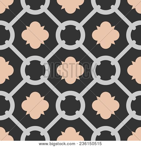 Tile Black, Pink And Grey Decorative Floor Tiles Vector Pattern Or Seamless Background