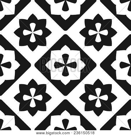 Tile Black And White Decorative Floor Tiles Vector Pattern Or Seamless Background