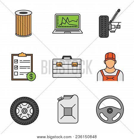 Auto Workshop Color Icons Set. Air Filter, Computer Diagnostics, Car Suspension, Invoice, Toolbox, R