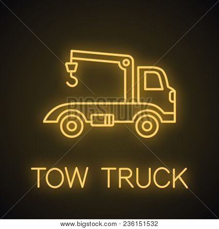 Tow Truck Neon Light Icon. Car Wrecker. Evacuator Glowing Sign. Vector Isolated Illustration