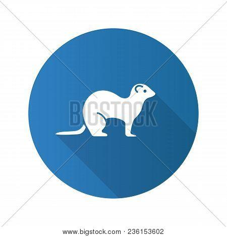 Ferret Flat Design Long Shadow Glyph Icon. Polecat. Vector Silhouette Illustration