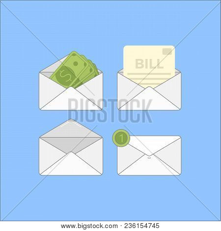 Envelope With Money And Bills.flat Set Of 4 Finance Mail Icon.vector Illustration