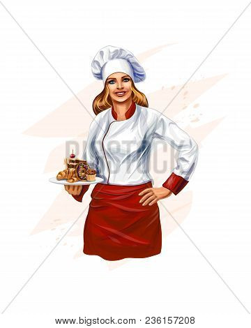 Chef Baking A Cake, Confectionery. Vector Realistic Illustration Of Paints