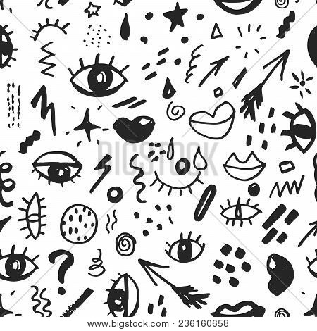 Seamless Pattern With Hand Drawn Sketched Doodle Elements Eyes And Lips, Abstract Background. Typogr