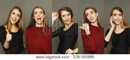 Set Of Young Girl Emotions. Casual Blond Woman Grimacing And Gesturing On Camera At Gray Studio Back