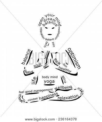 Yoga Wordcloud On White Background - Illustration