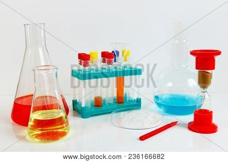 Equipment For Biochemical Studies On A White Background