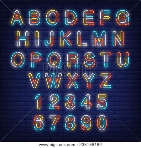 English Alphabet And Numbers Colorful Neon Sign. Vector Illustration In Neon Style For Night Bright